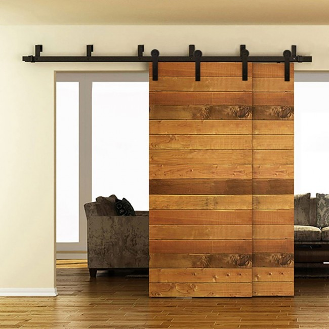 Winsoon 5 16ft bypass sliding barn door hardware double for Double sliding doors