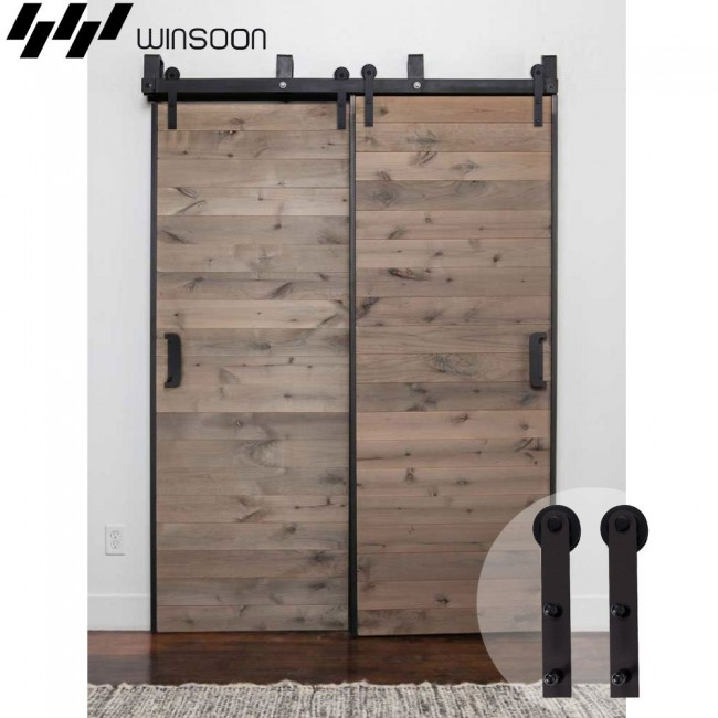 Winsoon 5 16ft bypass sliding barn door hardware double for Rustic hardware barn doors