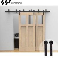 WinSoon 5-16FT Bypass Sliding Barn Door Hardware Double Rustic Black Track Kit New Barn Door Bypass