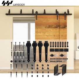 WinSoon 5-16FT Bypass Sliding Barn Door Hardware Double Track Kit Arrow Basic