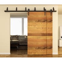 WinSoon 5-16FT Bypass Sliding Barn Door Hardware Double Track Kit Arrow Basic Barn Door Bypass