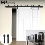 WinSoon 5-16FT Bypass Sliding Barn Door Hardware Double Track Kit Bent New