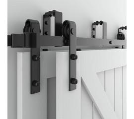 WinSoon 5-16FT Bypass Sliding Barn Door Hardware Double Track Kit Bent New