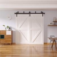 Bypass Sliding Barn Door Hardware Track Kit  Double Door  J Shape