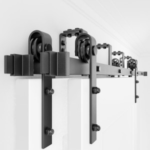 Bypass Sliding Barn Door Hardware Track Kit  Double Door  J Shape