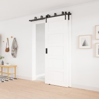 WinSoon 5-16FT Bypass Sliding Barn Door Hardware Double Track Kit Bent New Barn Door Bypass