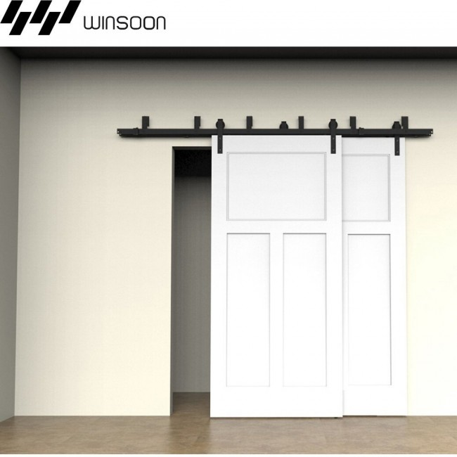 Bypass Barn Door Hardware winsoon 5-16ft bypass sliding barn door hardware double track kit