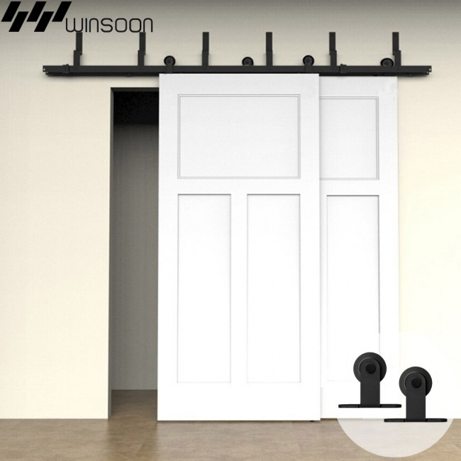 WinSoon 5-16FT Bypass Sliding Barn Door Hardware Double Track Kit Modern Basic Barn Door Bypass