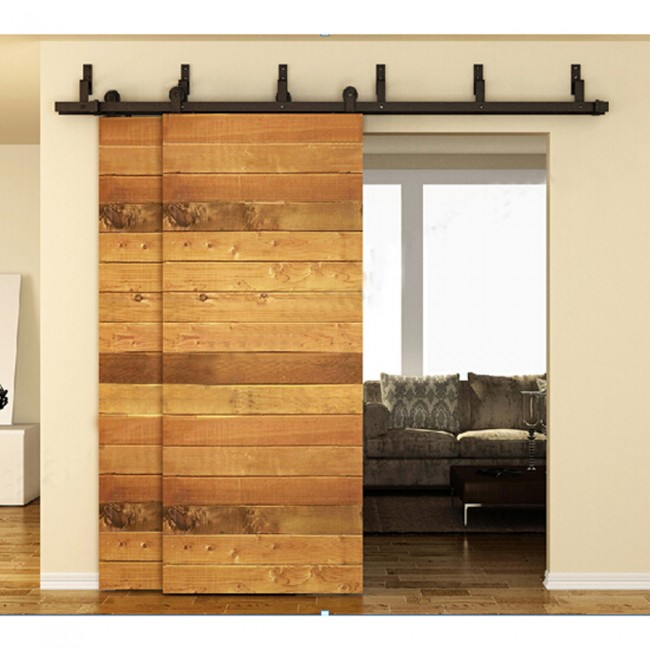 WinSoon 5 16FT Bypass Sliding Barn Door Hardware Double Track Kit Modern  Basic