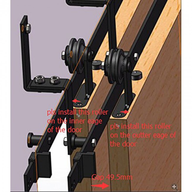 Diy Bypass Barn Door Hardware winsoon 5-16ft bypass sliding barn door hardware double track kit