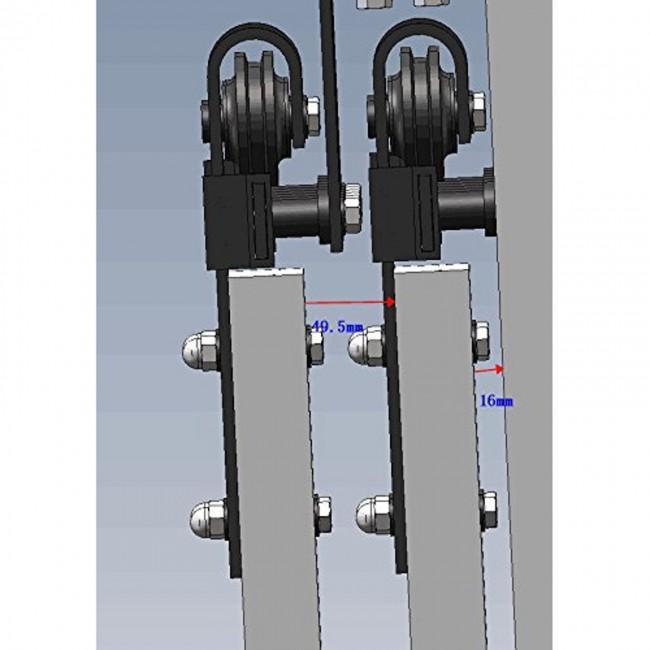 Winsoon 5 16ft bypass sliding barn door hardware double for 10 foot barn door track
