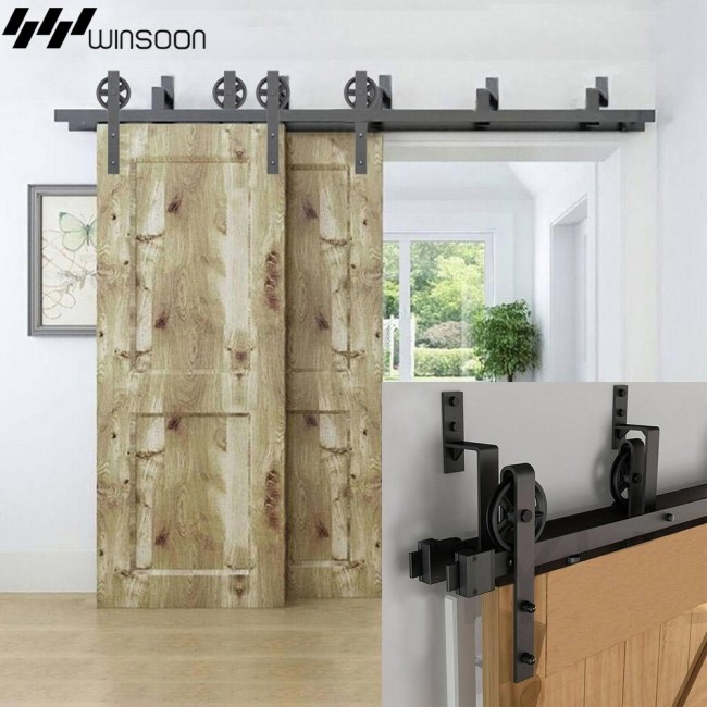 WinSoon 5-16FT Bypass Sliding Barn Door Hardware Double Track Kit New Black Wheel Barn Door Bypass