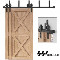 WinSoon 5-16FT Bypass Sliding Barn Door Hardware Double Track Kit New Black Wheel