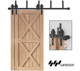 WinSoon 4-18FT Bypass Sliding Barn Door Hardware Double Track Kit New Black Wheel