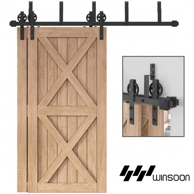 WinSoon 4-18FT Bypass Sliding Barn Door Hardware Double Track Kit New Black Wheel Barn Door Bypass