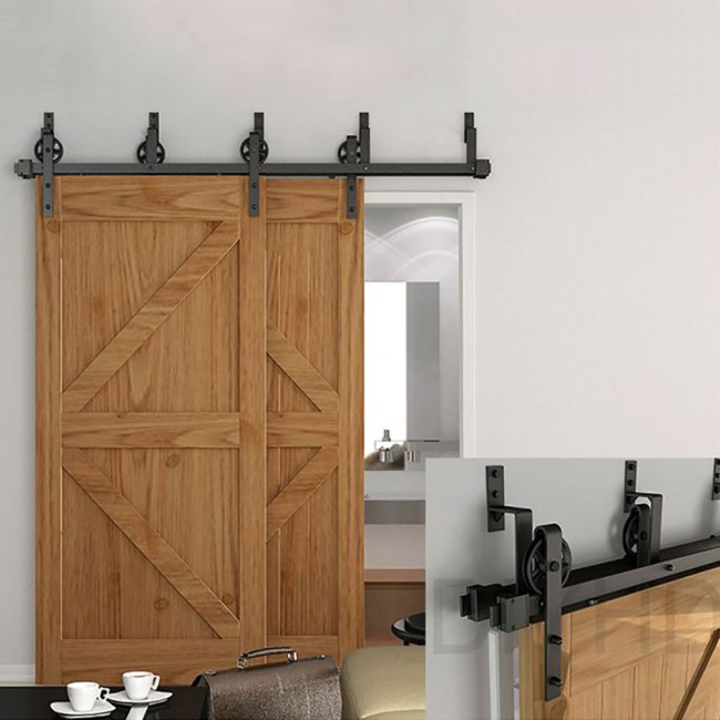 Ordinaire WinSoon 5 16FT Bypass Sliding Barn Door Hardware Double Track Kit New Black  Wheel Barn
