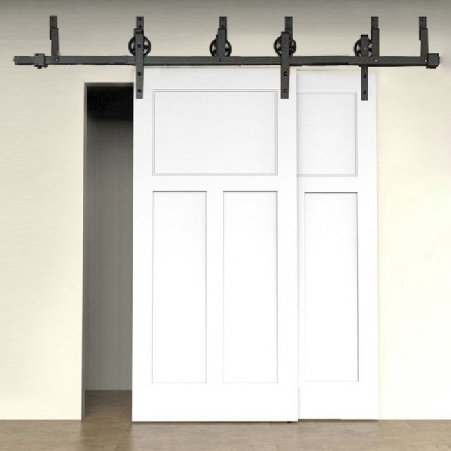 WinSoon 5 16FT Bypass Sliding Barn Door Hardware Double Track Kit New Black  Wheel Barn