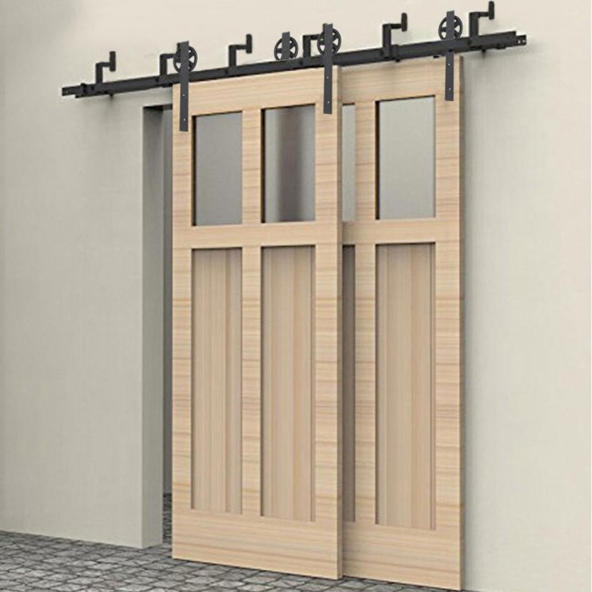 WinSoon 5-16FT Bypass Sliding Barn Door Hardware Double Track Kit New Black Wheel Barn & WinSoon 5-16FT Bypass Sliding Barn Door Hardware Double Track Kit ...