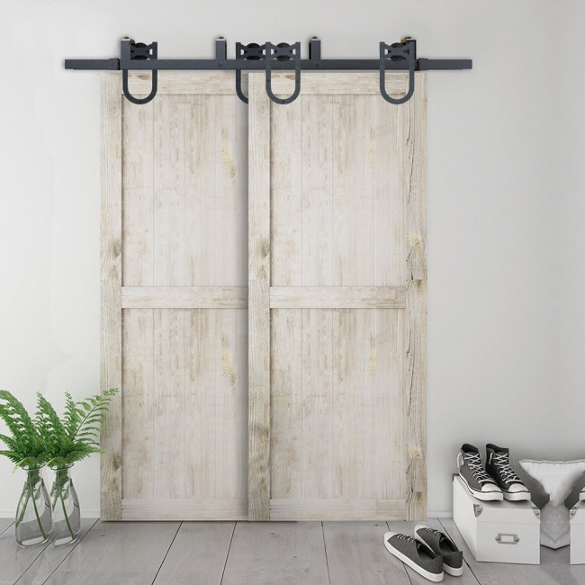 WinSoon 5-16FT Bypass Sliding Barn Door Hardware Double Track Kit New Horseshoe