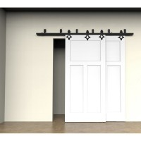 WinSoon 5-16FT Bypass Sliding Barn Door Hardware Double Track Kit New Rhombus Barn Door Bypass