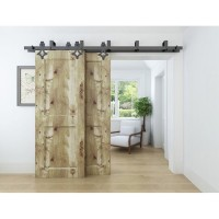 WinSoon 4-16FT Bypass Sliding Barn Door Hardware Double Track Kit New Rhombus Barn Door Bypass