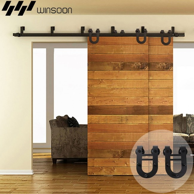 Winsoon 5 16ft Byp Sliding Barn Door Hardware Double Track Kit New U Shape