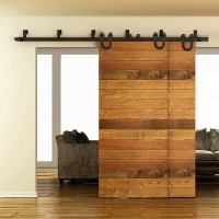 WinSoon 5-16FT Bypass Sliding Barn Door Hardware Double Track Kit New U-Shape Barn Door Bypass