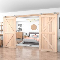WinSoon 4-18FT Modern Barn Door Hardware Stainless Double Wood Doors Track Kit