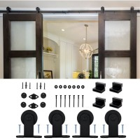 WinSoon 5-16FT Modern Sliding Barn Door Hardware Double/Single Track Kit Black