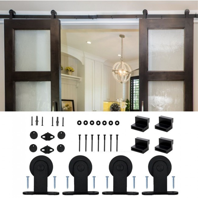 WinSoon 5-16FT Modern Sliding Barn Door Hardware Double/Single Track Kit Black Barn Door Hardware