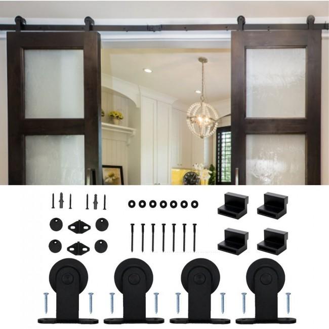 Winsoon 4 18ft Modern Barn Door Hardware Sliding Track Kit Black