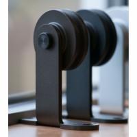 WinSoon 5-16FT Modern Sliding Barn Door Hardware Double/Single Track Kit Black Barn Door Hardware