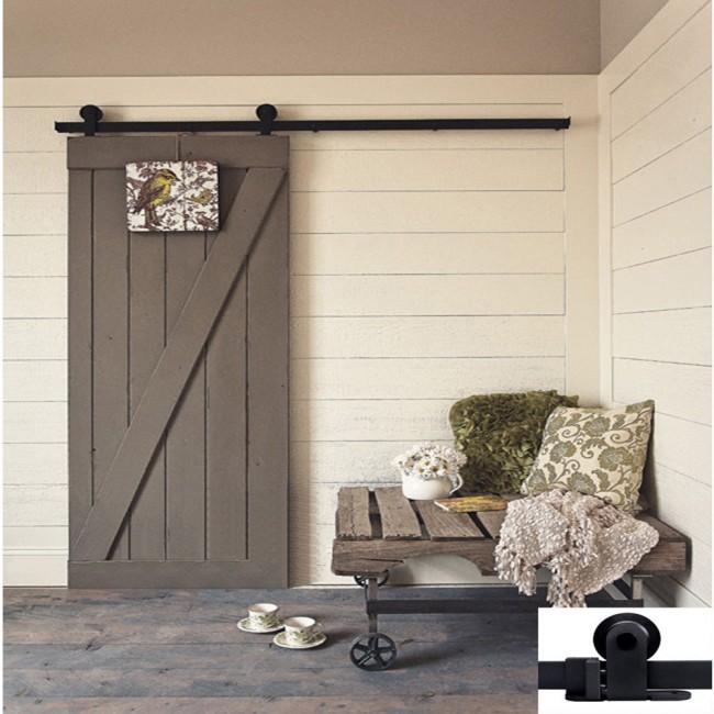 Winsoon 4 18ft Modern Barn Door Hardware Sliding Track Kit Black T Shape