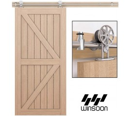WinSoon 4-18FT Modern Sliding Single Barn Wood Door Hardware Stainless Steel 304 Track Kit Top Mount Silver