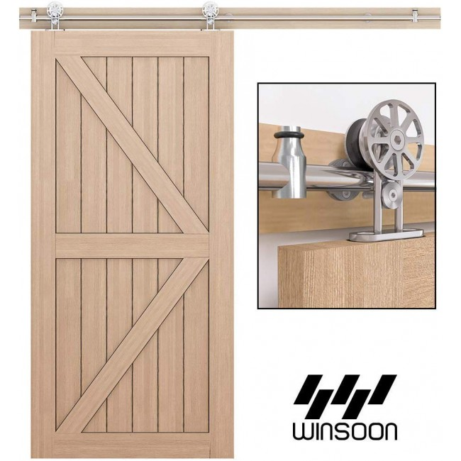 10ft Sliding Barn Wood Door Hardware Roller Track Kit Heavy Duty Double Door Arrow Shape Coffee Wall Hangers Rollers Floor Guide System US Delivery