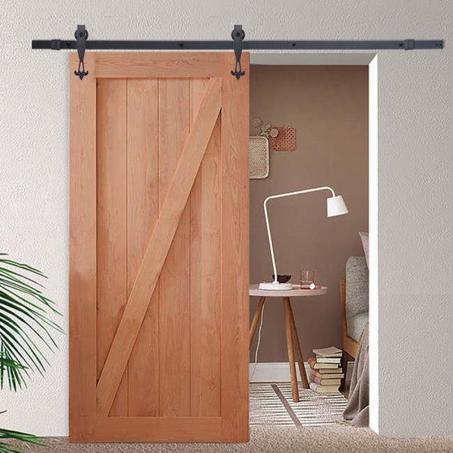Double sliding door hardware closet set go2buy 12ft wood for Hanging a sliding barn door
