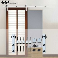 WinSoon 5-16FT Single/Double Barn Door Hardware Track Kit Bent Modern White