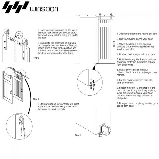 WinSoon 5-16FT Single/Double Barn Door Hardware Track Kit Bent Modern White  sc 1 st  WinSoonHardware & WinSoon 5-16FT Single/Double Barn Door Hardware Track Kit Bent ... pezcame.com
