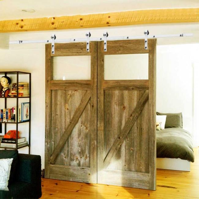 Winsoon 5 16ft Singledouble Barn Door Hardware Track Kit Bent