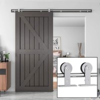 Single Sliding Barn Door Hardware Wood Door Kit  Stainless Steel Top Mount