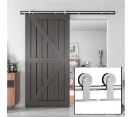 WinSoon 4-18FT Single Sliding Barn Door Hardware Wood Door Track Kit  Stainless Steel 304