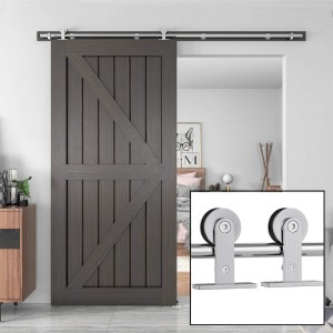 Single Sliding Barn Door Hardware Door Kit  Stainless Steel Top Mount