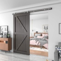 WinSoon 4-18FT Single Sliding Barn Door Hardware Wood Door Track Kit  Stainless Steel 304 Silver Top Mount