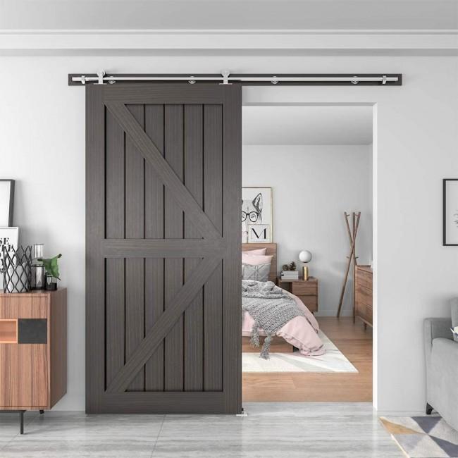 8FT //96 2 Doors Track Kit WINSOON 5-18FT Sliding Barn Wood Door Hardware Cabinet Closet Kit Antique Style for Double Doors Black Surface