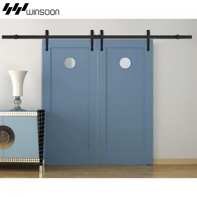 winsoon 5 16ft sliding barn door hardware aluminum rollers track kit cabinet closet arrow style. Black Bedroom Furniture Sets. Home Design Ideas