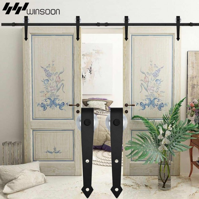 WinSoon 5 16FT Sliding Barn Door Hardware Aluminum Rollers Track Kit Cabinet  Closet Arrow Style