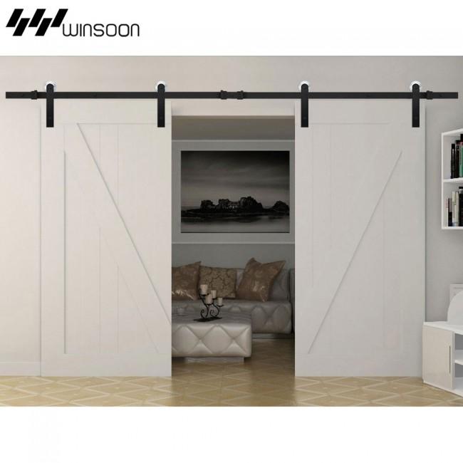 Winsoon 5 16ft sliding barn door hardware aluminum rollers for Sliding barn door track and rollers