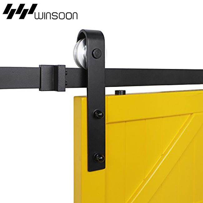 WinSoon 5-16FT Sliding Barn Door Hardware Aluminum Rollers Track Kit Cabinet Closet J-Shape