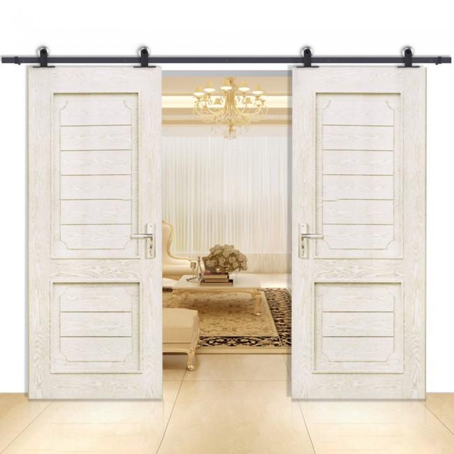 winsoon 5 16ft sliding barn door hardware aluminum rollers track kit cabinet closet t shape. Black Bedroom Furniture Sets. Home Design Ideas