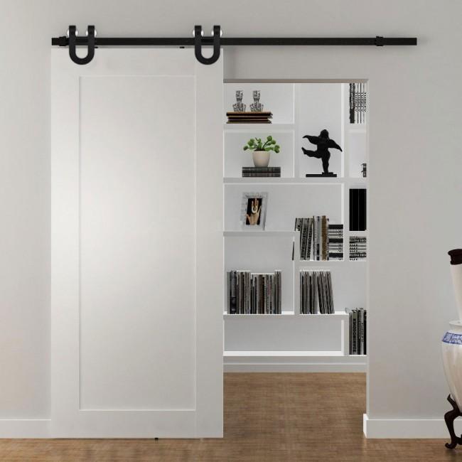 winsoon 5 16ft sliding barn door hardware aluminum rollers track kit cabinet closet u shape. Black Bedroom Furniture Sets. Home Design Ideas